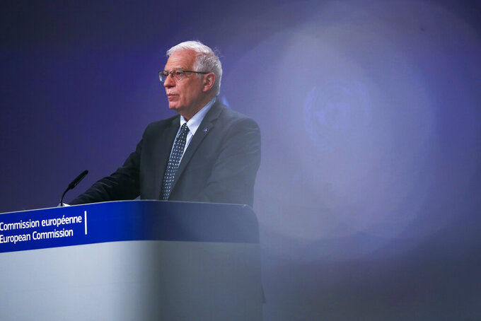 European Union foreign policy chief Josep Borrell speaks during an online joint news conference with UN Under-Secretary General for Humanitarian Affairs and Emergency Relief Coordinator Mark Lowcock at the conclusion of a conference 'Supporting the future of Syria and the region' at the European Commission headquarters in Brussels, Tuesday, March 30, 2021. (AP Photo/Francisco Seco, Pool)