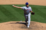 New York Mets pitcher Jared Hughes delivers a pitch against the New York Yankees during the seventh inning of the first baseball game of a doubleheader, Sunday, Aug. 30, 2020, in New York. The Yankees won 8-7. (AP Photo/Adam Hunger)