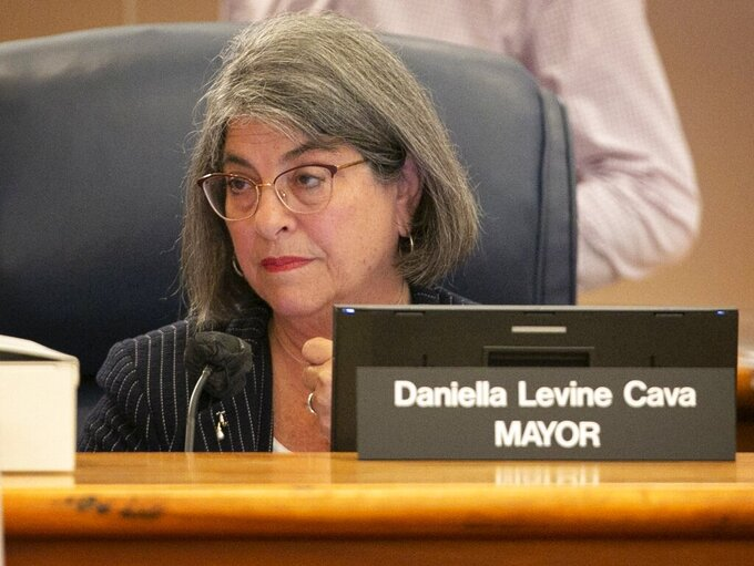 Miami-Dade Mayor Daniella Levine Cava, attends the first Miami-Dade Commission meeting to discuss the Surfside building collapse July 8, 2021 at the Stephen P. Clark Government Center. (Emily Michot/Miami Herald via AP)