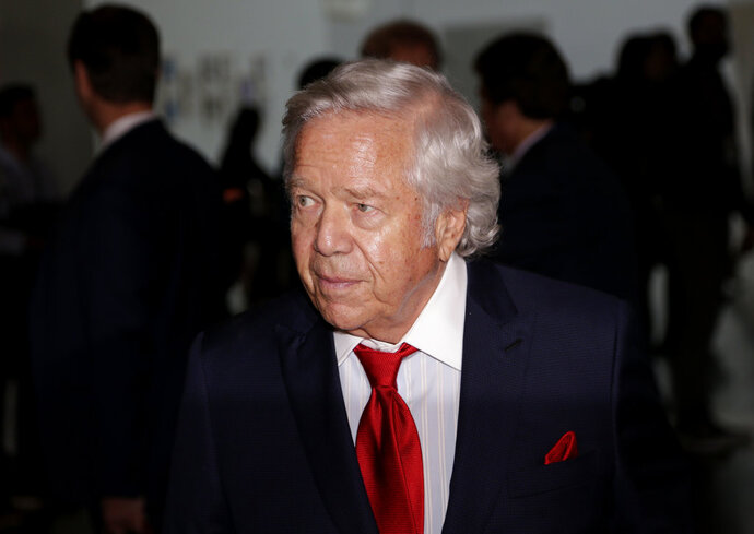 File - In this Oct. 16, 2018 file photo, New England Patriots owner Robert Kraft arrives for the NFL football fall meetings in New York. On Wednesday, Jan. 9, 2019, Kraft was awarded Israel's 2019 Genesis Prize, a $1 million recognition widely known as the
