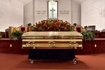 The casket of George Floyd is set inside the church for a memorial service Saturday, June 6, 2020, in Raeford, N.C. Floyd died after being restrained by Minneapolis police officers on May 25. (Ed Clemente/The Fayetteville Observer via AP, Pool)