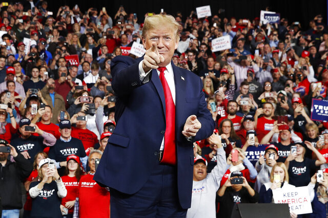 FILE - In this Jan. 9, 2020, file photo, President Donald Trump points as he arrives to speak at a campaign rally, in Toledo, Ohio. (AP Photo/ Jacquelyn Martin, File)