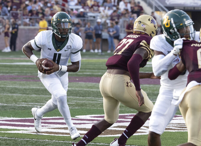 Baylor quarterback Gerry Bohanon (11) runs the ball during the first half of the team's NCAA college football game against Texas State, Saturday, Sept. 4, 2021, in San Marcos, Texas. (AP Photo/Michael Thomas)