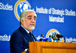 Abdullah Abdullah, chairman of Afghanistan's High Council for National Reconciliation, speaks at the Institute of Strategic Studies in Islamabad, Pakistan, Tuesday, Sept. 29, 2020. Abdullah said that the time has come for the two neighboring countries to shun the suspicion,