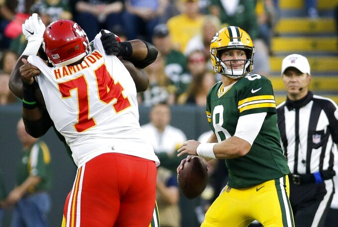 Green Bay Packers' Tim Boyle throws during the first half of a preseason NFL football game against the Kansas City Chiefs Thursday, Aug. 29, 2019, in Green Bay, Wis. (AP Photo/Mike Roemer)