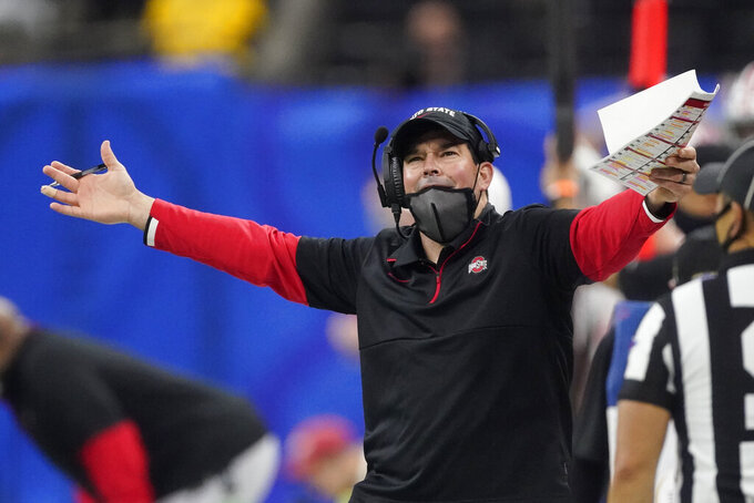 Ohio State head coach Ryan Day reacts during the second half of the Sugar Bowl NCAA college football game against Clemson Friday, Jan. 1, 2021, in New Orleans. (AP Photo/John Bazemore)