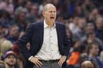Cleveland Cavaliers head coach John Beilein yells instructions to players in the first half of an NBA basketball game against the Minnesota Timberwolves, Sunday, Jan. 5, 2020, in Cleveland. (AP Photo/Tony Dejak)