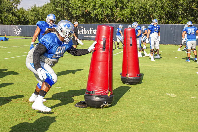 Detroit Lions defensive tackle Damon Harrison Sr. (98 during Day 17 of 2019 Detroit Lions Training Camp presented by Rocket Mortgage on Thursday, Aug. 15, 2019 in Houston. (Detroit Lions via AP)