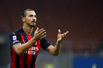 FILE - In this Sept. 21, 2020 file photo, AC Milan's Zlatan Ibrahimovic reacts during the Serie A soccer match between AC Milan and Bologna at the San Siro stadium, in Milan, Italy. The Swedish ace tested positive to COVID-19 and will miss tonight's Europa League 3rd round qualifying soccer match between AC Milan and Bodo Glimt and also a few of the next matches of the Italian Serie A. (AP Photo/Antonio Calanni)