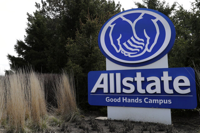 "FILE - This April 7, 2020, file photo shows an Allstate sign in Northbrook, Ill. Allstate says it has agreed to acquire National General Holdings Corp. for $4 billion in cash as it expands its insurance portfolio. National General shareholders will get $32 per share from Allstate, plus closing dividends of about $2.50 per share, for a total of about $34.50 per share. National General offers a range of property-liability products through independent agents including ""non-standard"" auto insurance, the Northbrook, Ill.-based Allstate said.(AP Photo/Nam Y. Huh, File)"