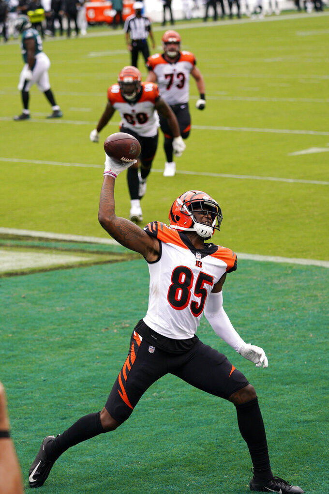 Cincinnati Bengals' Tee Higgins reacts after scoring a touchdown during the second half of an NFL football game against the Philadelphia Eagles, Sunday, Sept. 27, 2020, in Philadelphia. (AP Photo/Chris Szagola)