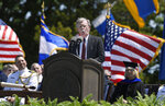 National Security Adviser John Bolton speaks at the commencement for the United States Coast Guard Academy in New London, Conn., Wednesday, May 22, 2019. (AP Photo/Jessica Hill)