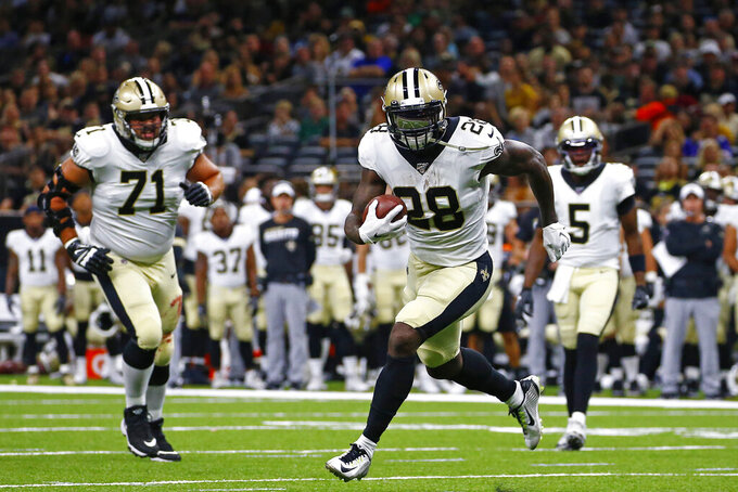 New Orleans Saints running back Latavius Murray (28) carries in the first half of an NFL preseason football game against the Minnesota Vikings in New Orleans, Friday, Aug. 9, 2019. (AP Photo/Butch Dill)