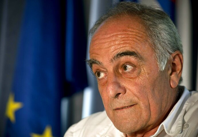European Union Ambassador Alberto Navarro speaks during a interview in Havana, Cuba, Tuesday, April 23, 2019. Navarro says the Trump administration's crackdown on business with the communist government is causing unprecedented concern among European companies doing business on the island.(AP Photo/Ramon Espinosa)