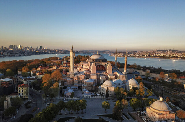 FILE - In this April 25, 2020, file photo, is an aerial view of the Byzantine-era Hagia Sophia, in the historic Sultanahmet district of Istanbul. Turkish President Recep Tayyip Erdogan is scheduled to join hundreds of worshipers Friday, July 24, for the first Muslim prayers at the Hagia Sophia in 86 years, weeks after a controversial high court ruling paved the way for the landmark monument to be turned back into a mosque.  (AP Photo, File)