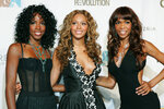"FILE - Kelly Rowland, left, Beyonce Knowles, center, and Michelle Williams of Destiny's Child appear at the second annual Fashion Rocks concert in New York on Sept. 8, 2005. Rocker Stevie Nicks, who is releasing  a concert film ""Stevie Nicks 24 Karat Gold The Concert"" later this month, let the R&B girl group Destiny's Child sample the song ""Edge of Seventeen"