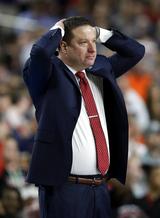 Texas Tech head coach Chris Beard reacts during the second half against Virginia in the championship game of the Final Four NCAA college basketball tournament, Monday, April 8, 2019, in Minneapolis. (AP Photo/David J. Phillip)