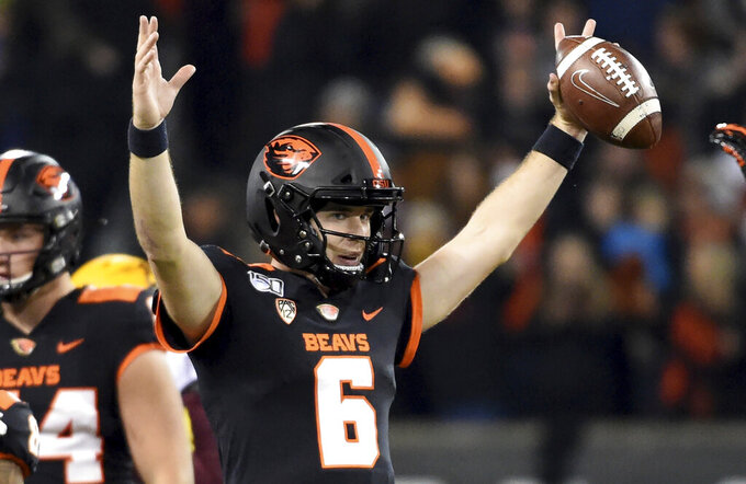 Oregon State quarterback Jake Luton reacts as time runs out in the team's NCAA college football game against Arizona State in Corvallis, Ore., Saturday, Nov. 16, 2019. Oregon State won 35-34. (AP Photo/Steve Dykes)