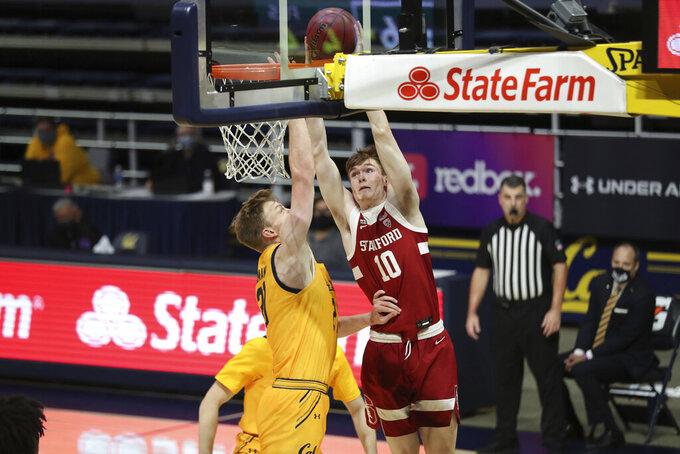 Stanford forward Max Murrell (10) shoots against California forward Lars Thiemann during the first half of an NCAA college basketball game in Berkeley, Calif., Thursday, Feb. 4, 2021. (AP Photo/Jed Jacobsohn)