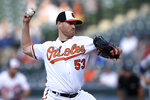 Baltimore Orioles' Dan Straily delivers a pitch during the first inning of the team's baseball game against the New York Yankees, Wednesday, May 22, 2019, in Baltimore. (AP Photo/Nick Wass)