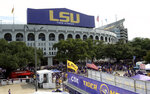 FILE - In this Sept. 14, 2019, file photo, preparations are made outside Tiger Stadium before an NCAA football game between LSU and Northwestern State in Baton Rouge, La. LSU and Caesar's Sportsbook announced Friday, Sept. 17, 2021, that they have entered into a multi-year sponsorship agreement, making Louisiana's flagship state university the first in the Southeastern Conference to enter a financial partnership with a gambling company. (AP Photo/Patrick Dennis, File)