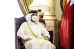 Qatar's Deputy Prime Minister and Foreign Minister Sheikh Mohammed bin Abdulrahman bin Jassim Al-Thani, meets with Egyptian Foreign Minister Sameh Shoukry at the Tahrir Palace in Cairo, Egypt, Tuesday, May 25, 2021. (AP Photo/Nariman El-Mofty)