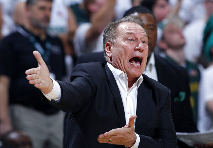 Michigan State coach Tom Izzo reacts during the first half of an NCAA college basketball game against Michigan, Sunday, Jan. 5, 2020, in East Lansing, Mich. (AP Photo/Al Goldis)