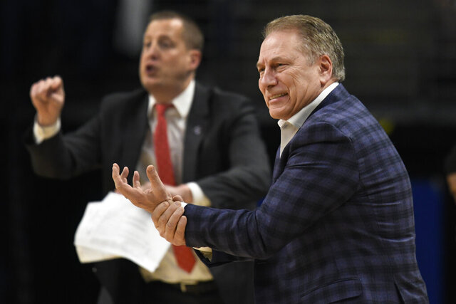 Michigan State coach Tom Izzo reacts reacts during the first half of the team's NCAA college basketball game against Penn State, Tuesday, March 3, 2020, in State College, Pa. (AP Photo/John Beale)
