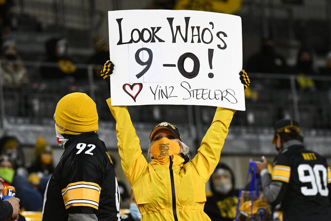 A Pittsburgh Steelers fan holds a sign during the second half of an NFL football game between the Steelers and the Cincinnati Bengals in Pittsburgh, Sunday, Nov. 15, 2020. (AP Photo/Don Wright)