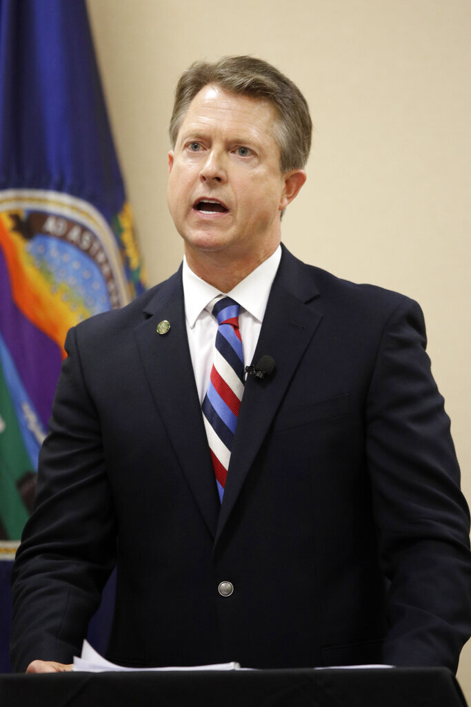 Senate candidate Rep. Roger Marshall, R-Kan., answers a question during a GOP senatorial debate In Manhattan, Kan., Saturday, May 23, 2020. (AP Photo/Orlin Wagner)