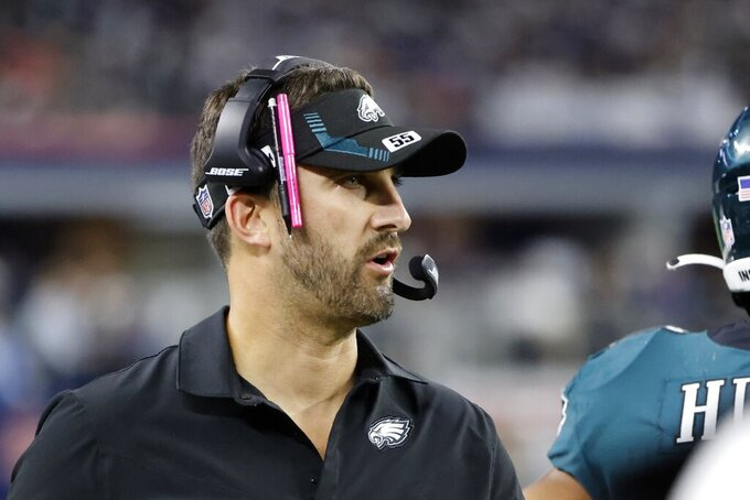 Philadelphia Eagles head coach Nick Sirianni watches play against the Dallas Cowboys in the second half of an NFL football game in Arlington, Texas, Monday, Sept. 27, 2021. (AP Photo/Michael Ainsworth)