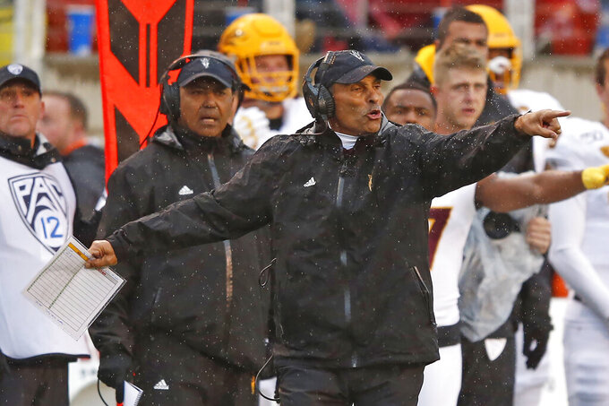 Arizona State coach Herm Edwards reacts to a call during the first half of the team's NCAA college football game against Utah on Saturday, Oct. 19, 2019, in Salt Lake City. (AP Photo/Rick Bowmer)