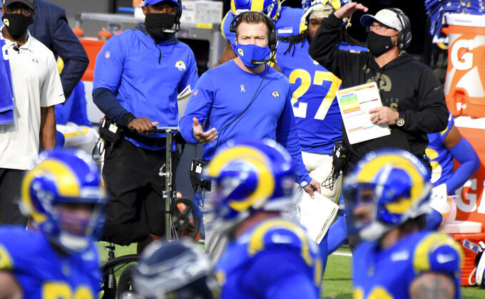 Los Angeles head coach Sean McVay, center top, reacts against the Seattle Seahawks in the first half of an NFL football game in Inglewood, Calif., Sunday, Nov. 15, 2020. (Keith Birmingham/The Orange County Register via AP)