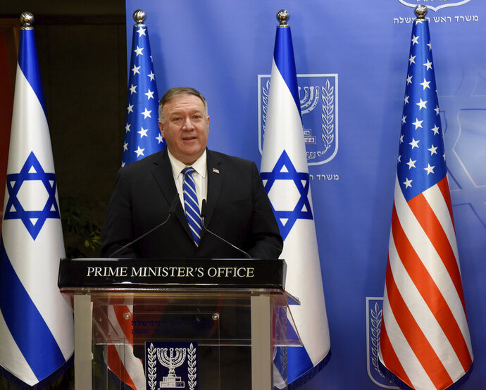 U.S. Secretary of State Mike Pompeo and Israeli Prime Minister Benjamin Netanyahu make joint statements to the press after meeting, in Jerusalem, Monday, Aug. 24, 2020. (Debbie Hill/Pool via AP)