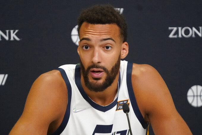 Utah Jazz's Rudy Gobert speaks with reporters during the NBA basketball team's Media Day Monday, Sept. 27, 2021, in Salt Lake City (AP Photo/Rick Bowmer)