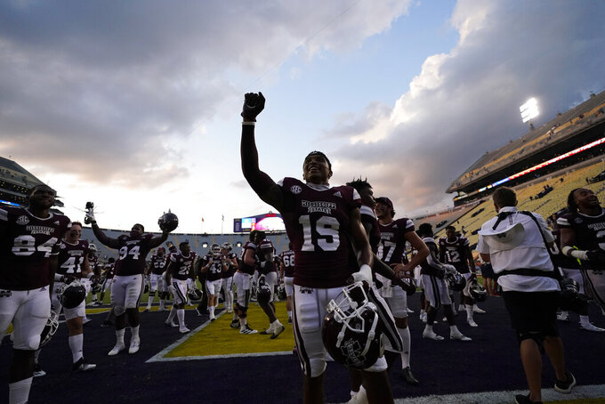 Mississippi State safety Collin Duncan (19) celebrates their win after an NCAA college football game against LSU in Baton Rouge, La., Saturday, Sept. 26, 2020. Mississippi State won 44-34. (AP Photo/Gerald Herbert)