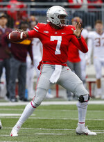 Ohio State quarterback Dwayne Haskins throws a pass against Minnesota during the first half of an NCAA college football game Saturday, Oct. 13, 2018, in Columbus, Ohio. (AP Photo/Jay LaPrete)