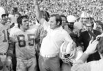 FILE - In this Jan. 13, 1973, file photo, Miami Dolphins coach Don Shula lets out with a roar as the gun sounds to give his Dolphins a 14-7 Super Bowl victory over the Washington Redskins in Los Angeles. Shula coached the 1972 Dolphins to a 17-0 record. (AP Photo/File)