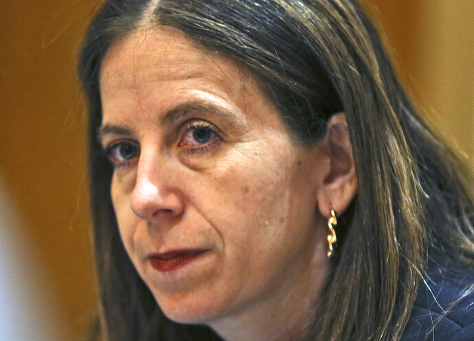Sigal P. Mandelker, the undersecretary for terrorism and financial intelligence at the U.S. Treasury, listens to questions at a press briefing in Dubai, United Arab Emirates, Thursday, July 12, 2018. A top U.S. official focused on sanctions on Iran linked American financial pressure on Tehran with the ongoing economic protests roiling the Islamic Republic. (AP Photo/Kamran Jebreili)