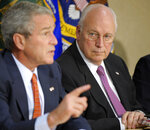 FILE - In this July 11, 2008 file photo, Vice President Dick Cheney looks on as President Bush makes a statement on energy at the Energy Department in Washington. (AP Photo/Evan Vucci, File)