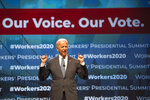 Democratic presidential candidate former Vice President Joe Biden speaks at the first-ever