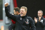 Bournemouth manager Eddie Howe celebrates after the final whistle during the English Premiership soccer match against Manchester United at The Vitality Stadium, Bournemouth, England, Saturday Nov. 2, 2019. (Mark Kerton/PA via AP)