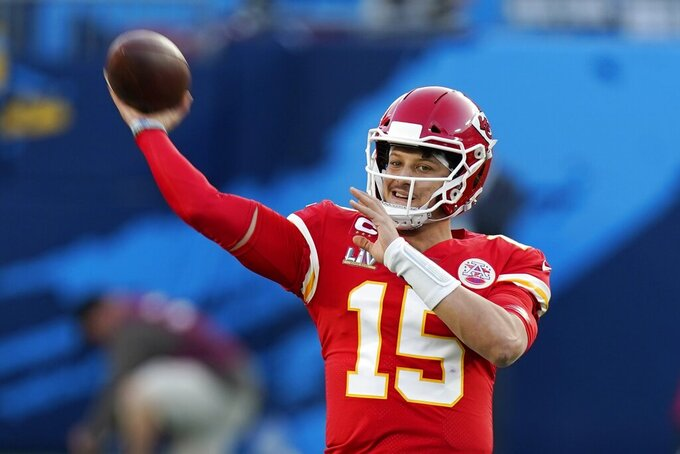 Kansas City Chiefs quarterback Patrick Mahomes warms up before the NFL Super Bowl 55 football game between the Kansas City Chiefs and Tampa Bay Buccaneers, Sunday, Feb. 7, 2021, in Tampa, Fla. (AP Photo/Mark Humphrey)