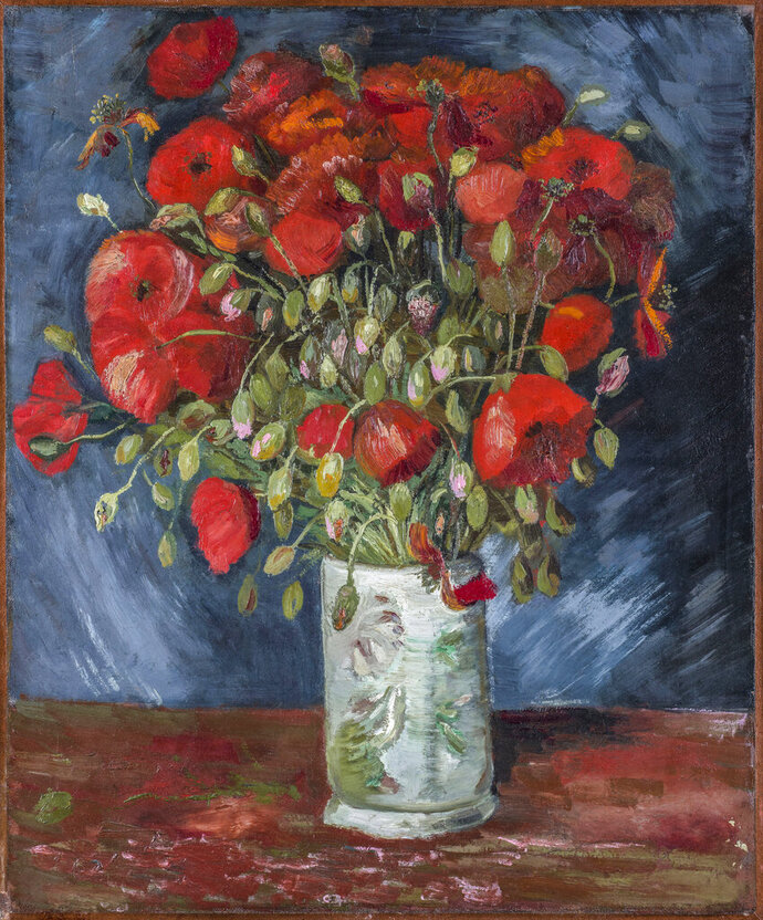 This undated photo provided by the Wadsworth Atheneum Museum of Art shows a painting of poppies, oil on canvas. The painting at the Connecticut museum that has long been thought to be by Vincent Van Gogh has been authenticated as such by Dutch researchers. (Wadsworth Atheneum Museum of Art via AP)