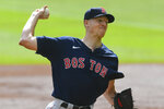 Boston Red Sox pitcher Nick Pivetta works against the Atlanta Braves during the first inning of a baseball game Sunday, Sept. 27, 2020, in Atlanta. (AP Photo/John Amis)