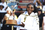 United States Serena Williams with the ASB Trophy after winning finals singles match against United States Jessica Pegula at the ASB Classic in Auckland, New Zealand, Sunday, Jan. 12, 2020. (Chris Symes/Photosport via AP)