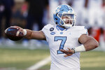 North Carolina quarterback Sam Howell passes during the first half of an NCAA college football game against Boston College, Saturday, Oct. 3, 2020, in Boston. (AP Photo/Michael Dwyer)