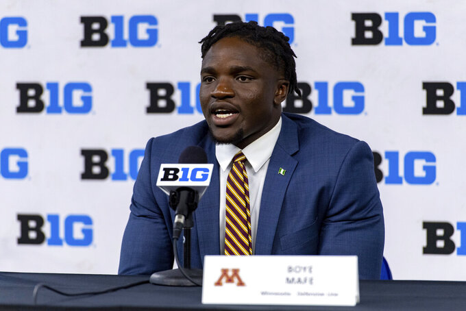 Minnesota defensive lineman Boye Mafe talks to reporters during an NCAA college football news conference at the Big Ten Conference media days, Thursday, July 22, 2021, at Lucas Oil Stadium in Indianapolis. (AP Photo/Doug McSchooler)