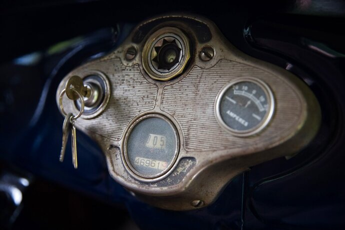 This Tuesday, Aug. 27, 2019 photo, shows the dash of Ron Nelson's Model A car in Wahoo, Neb. (Ryan Soderlin/Omaha World-Herald via AP)