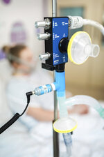 In this Friday, March 27, 2020 photo provided by UCLH,University College London Hospital a view of a CPAP device at UCL Hospital in London. Formula One team Mercedes has helped to develop a breathing aid that could keep coronavirus patients out of intensive care and ease some pressure on Britain's strained health service. Mercedes worked with engineers at the University College London and clinicians at University College London Hospital in a combined effort involving seven Britain-based teams to adapt and improve a device that bridges the gap between an oxygen mask and the need for full ventilation. (UCLH via AP)